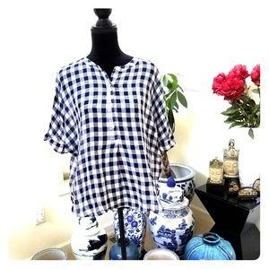 Loft highshort sleeve gingham plaid Henley shirt